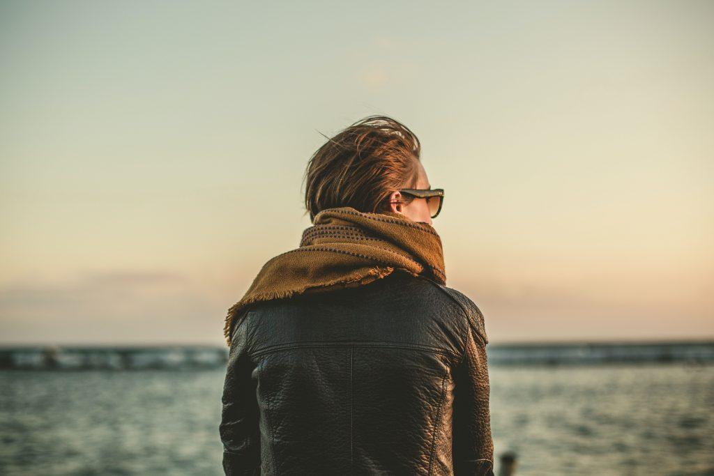 Man looking over ocean